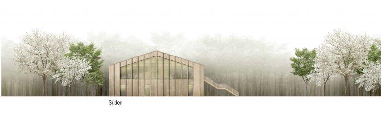 Grossansicht in neuem Fenster: 1. Preis Kindergarten Wiesensteig 1010_Ansicht Süd
