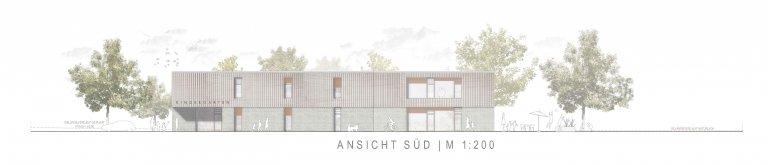 Grossansicht in neuem Fenster: 3. Preis Kindergarten Wiesensteig 1005_Ansicht Süd