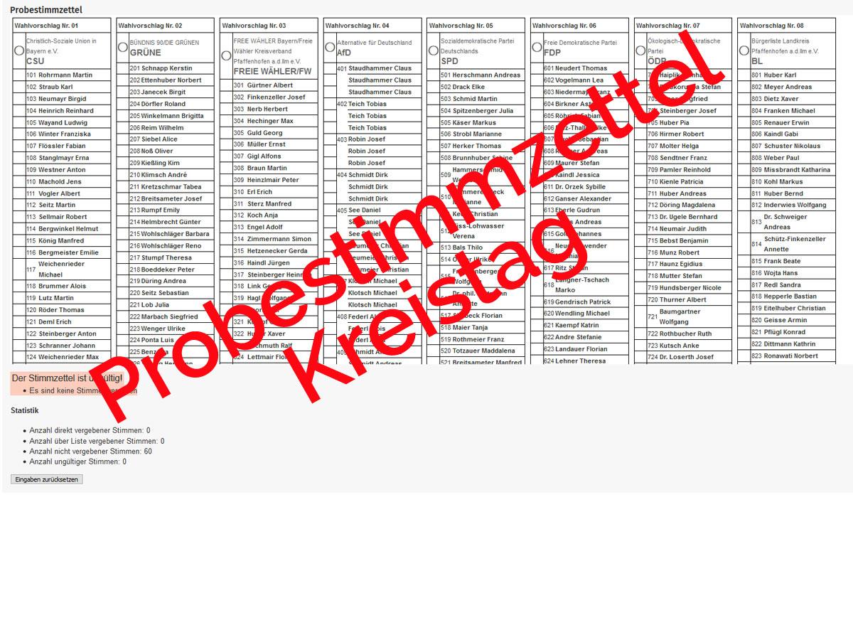 Probestimmzettel Kreistagswahl