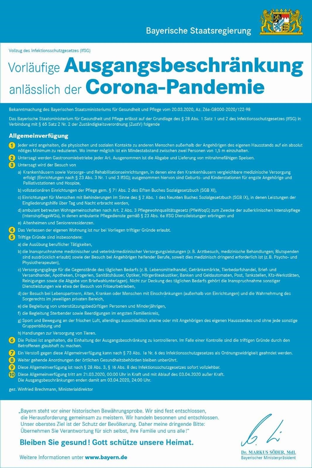 Bayerische Staatsregierung Ausgangsbeschränkung Coronavirus