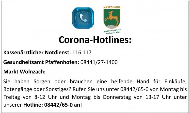 Grossansicht in neuem Fenster: Corona Hotlines